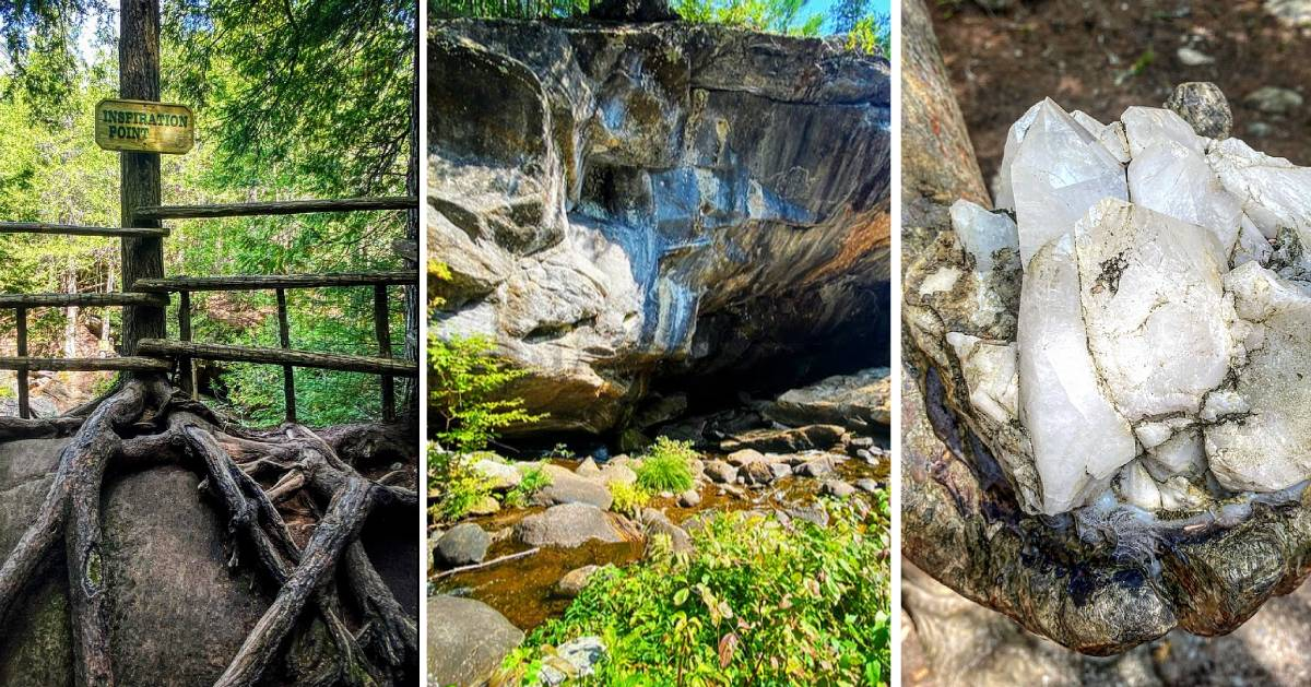 image split in three of of photos from Natural Stone Bridge and Caves