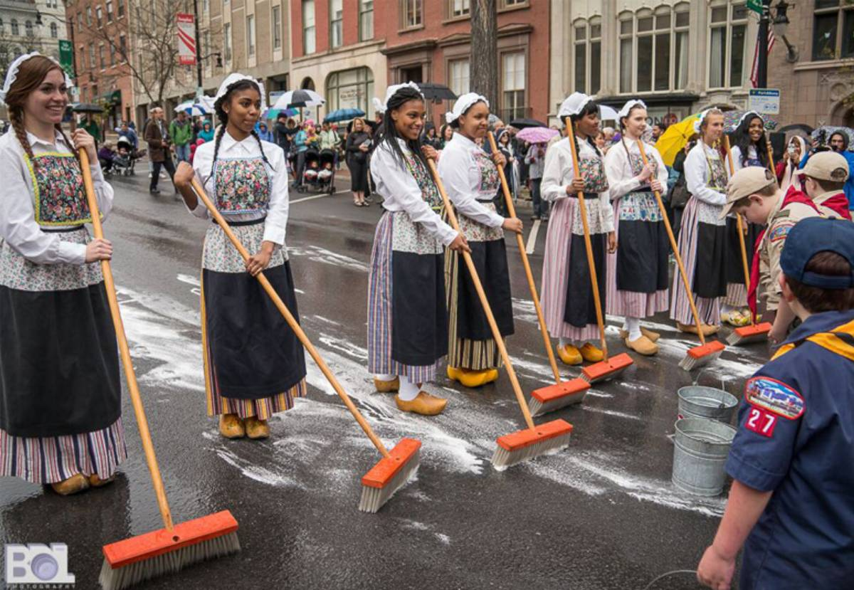 street scrubbing event in costumes