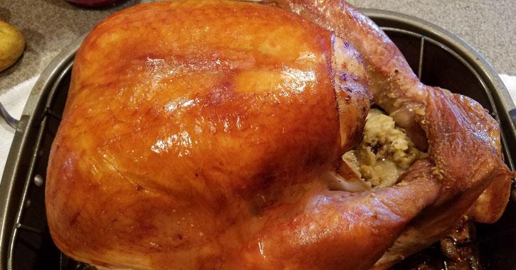 a turkey stuffed with stuffing