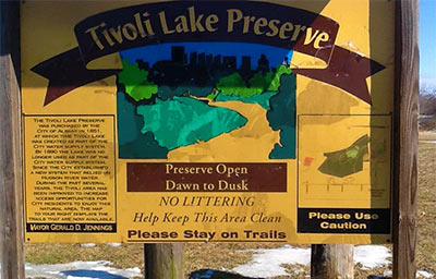 tivoli lake preserve sign