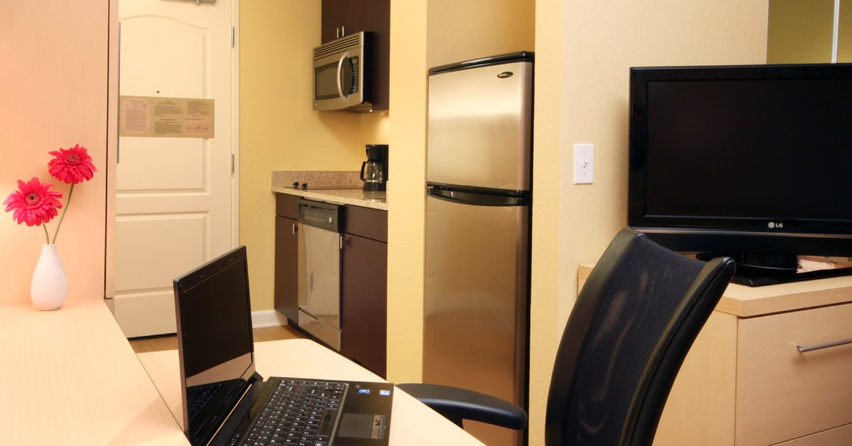 kitchen and office space in a suite at townplace suites