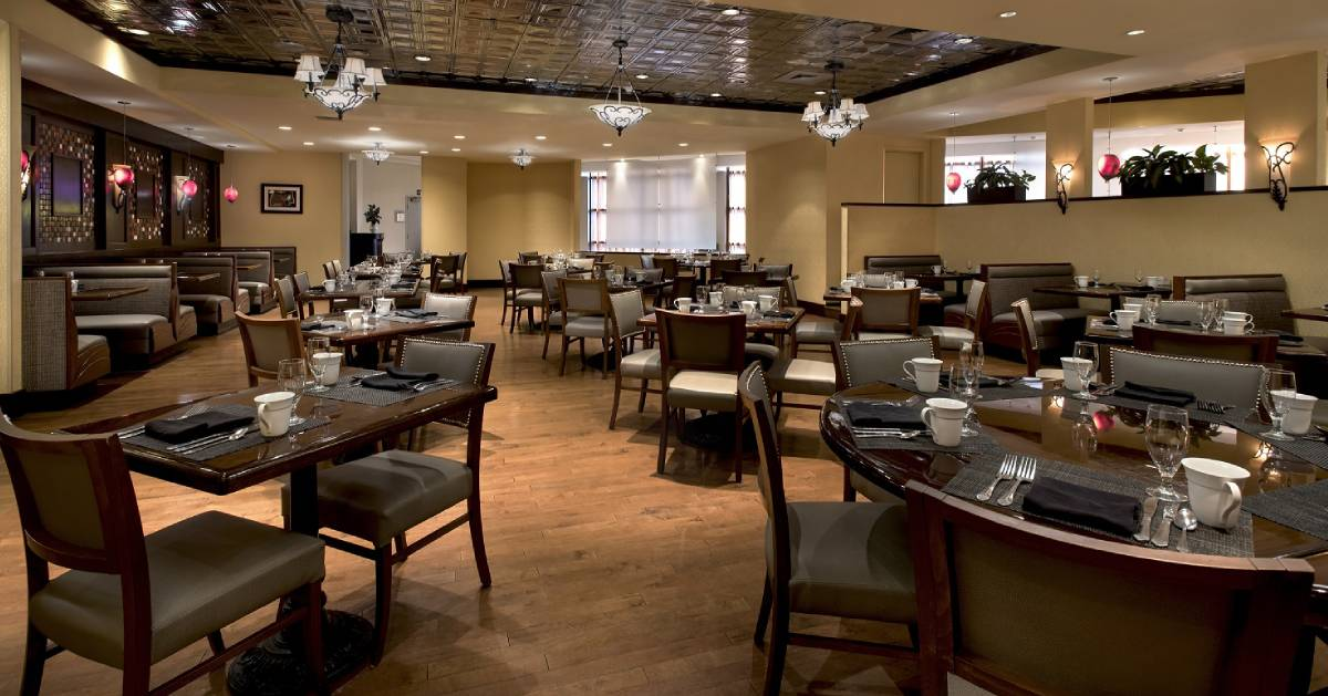 restaurant dining room with brown tables