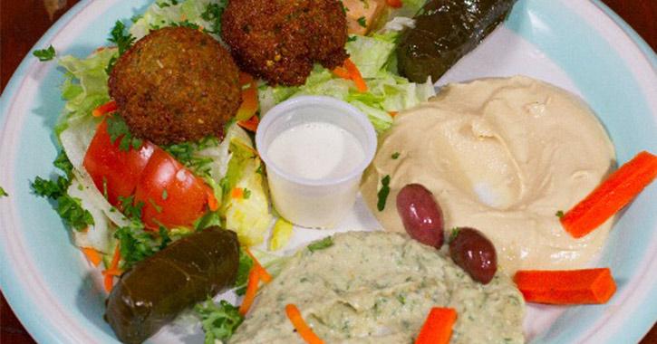 vegetarian platter at Mamoun's Falafel Restaurant in Albany, NY
