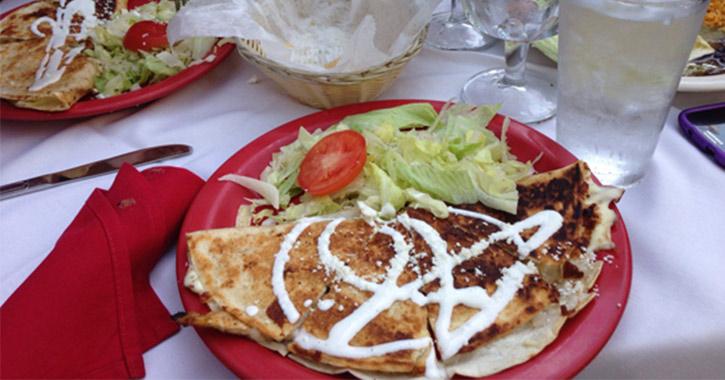vegetarian quesadilla at El Mariachi Mexican Restaurant in Albany, NY
