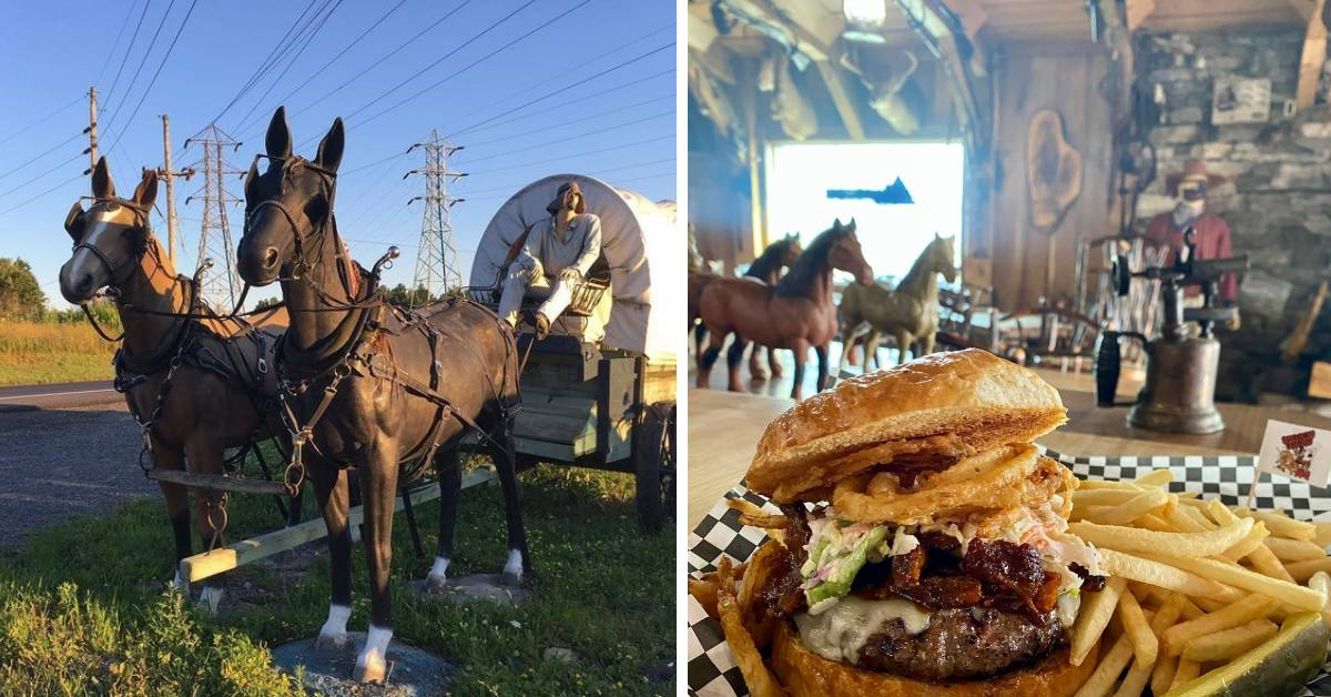 left image of a life size horse drawn covered wagon and right image of a bbq burger and fries