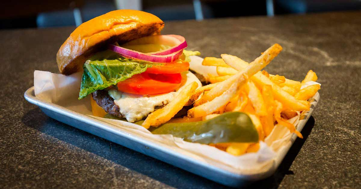 burger and fries on a plate
