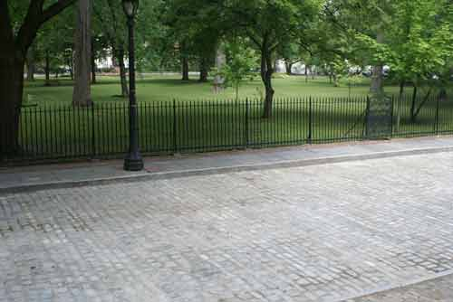 Cobblestone Street In Troy on Washington Park