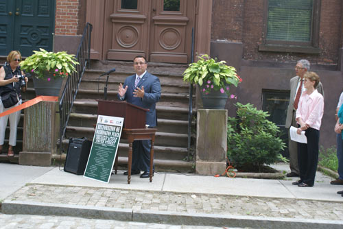 Mayor Harry Tutunjian at Washington Place Cobblestone Street Ribbon Cutting Ceremony