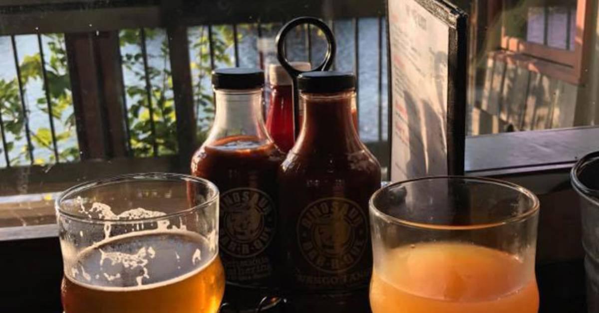 bbq bottles and beer glasses