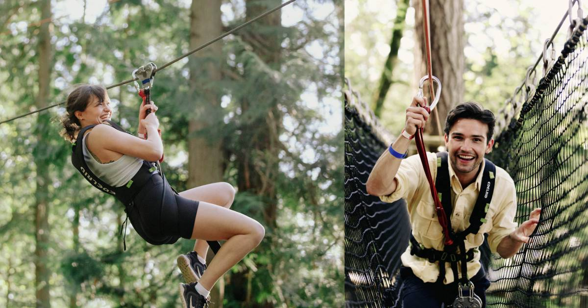 left photo of woman ziplining and right photo of man on ropes course