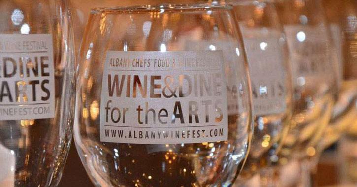 wine glasses that say Albany Chefs' Food & Wine Festival Wine & Dine for the Arts