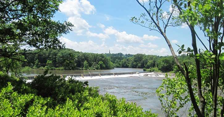 a view of the mohawk river from peebles island