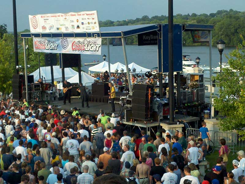 Guests enjoy live music at Jennings Landing during the Alive at 5 concert series in Albany