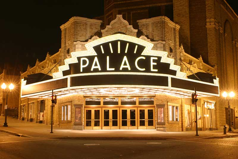 The Palace Theatre in Albany light up at night