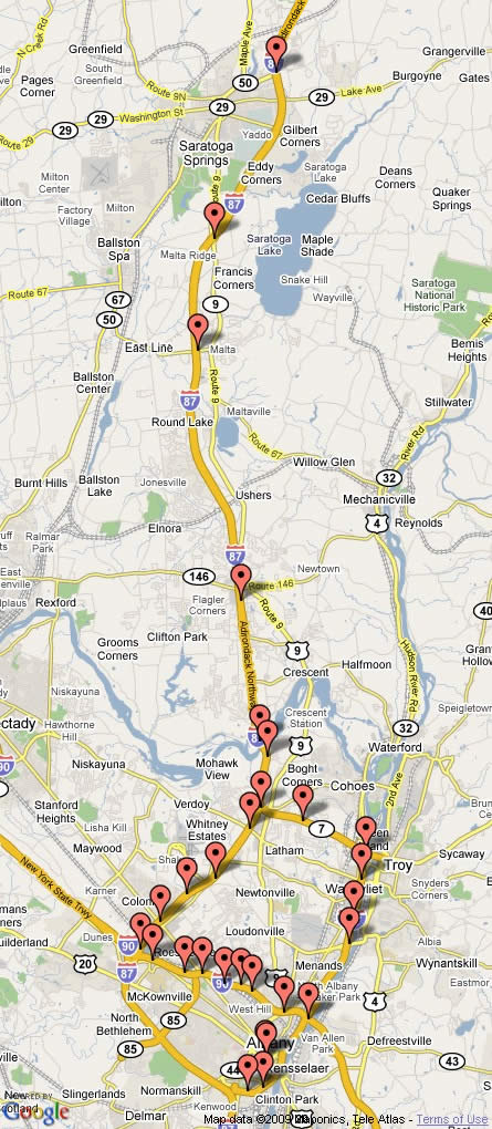 map of albany region traffic cameras