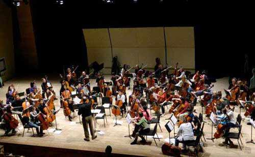 an orchestra on stage