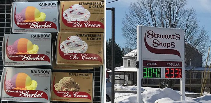 stewarts ice cream and sign