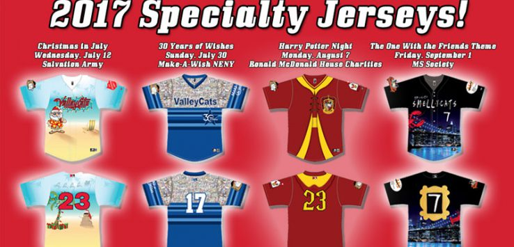 a logo of 2017 specialty jerseys for the ValleCats with a red background
