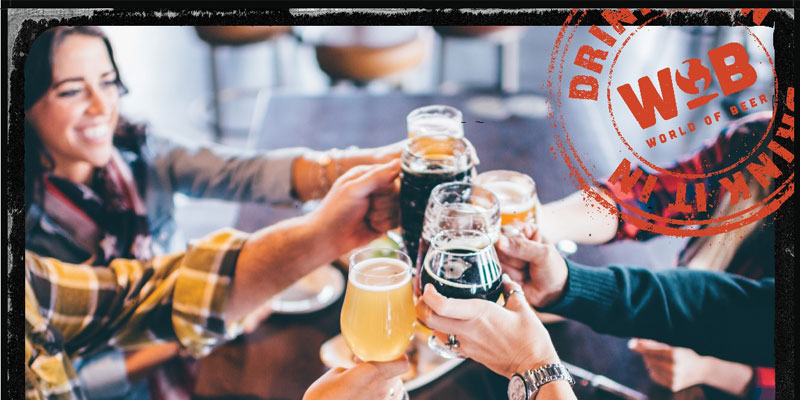 World of Beer promotional image with friends cheersing with beers