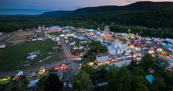an areal view of the Altamont Fair at night