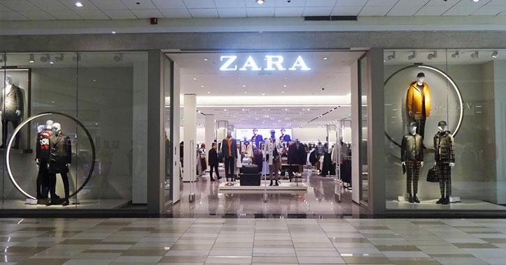 Entrance to Zara at Crossgates Mall