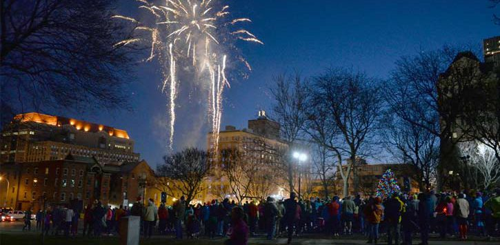 fireworks and crowd at Last Run 5K