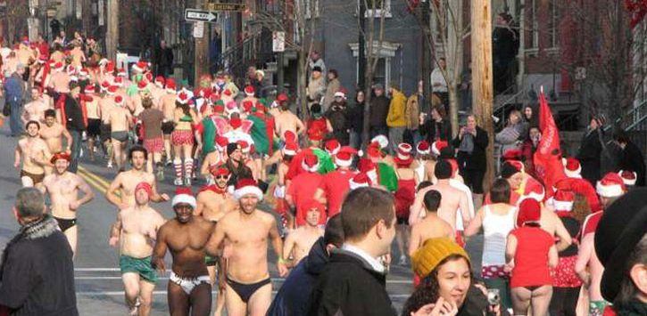 runners in the Santa Speedo sprint