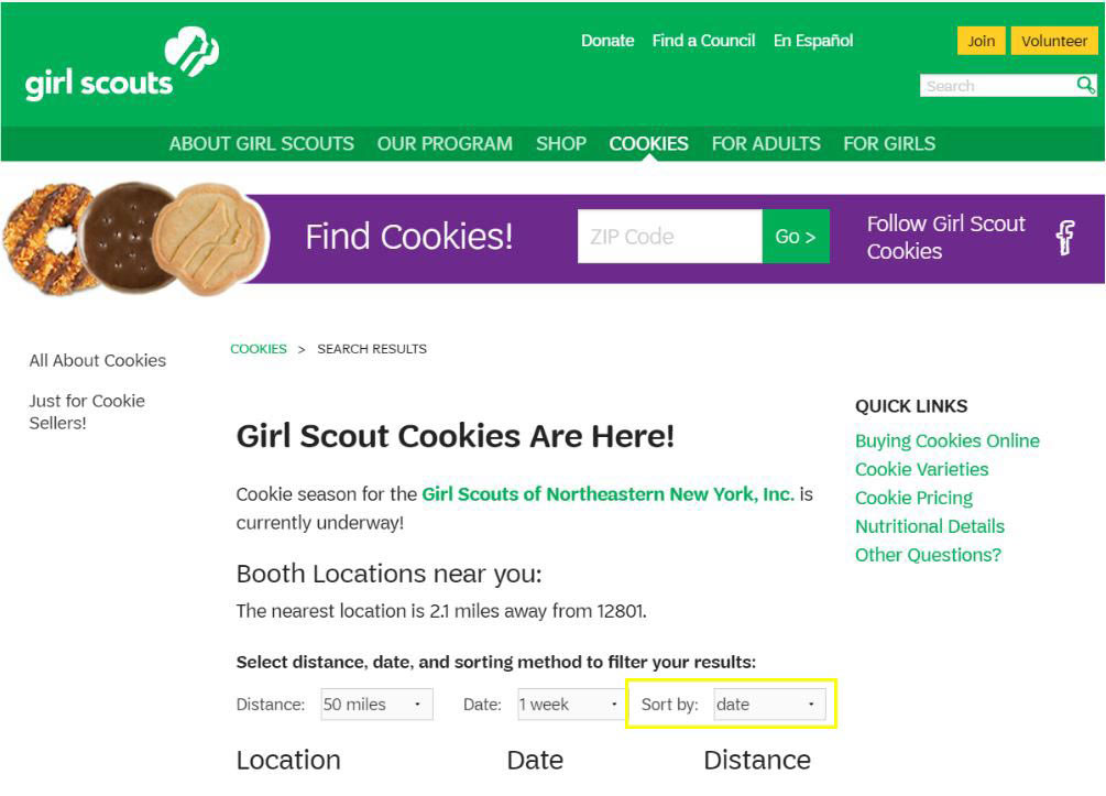"a screenshot of the cookie finder with ""sort by"" having a yellow rectangle around it"