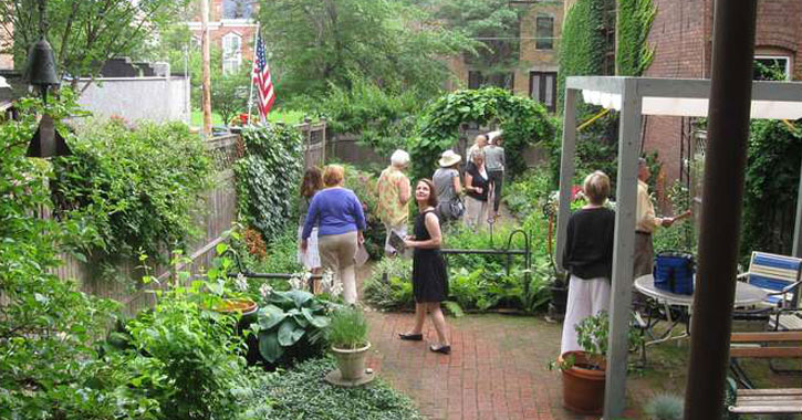 people taking a garden tour