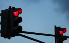 two red traffic lights