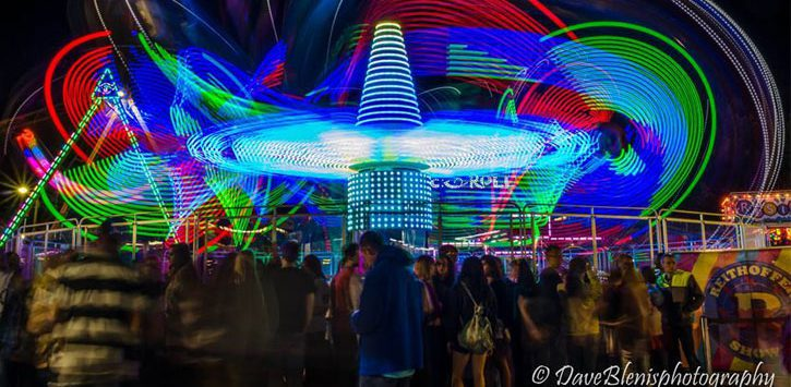 colorful night photo at the fair