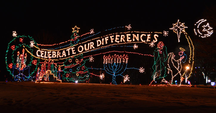 holiday lights spelling out celebrate our differences