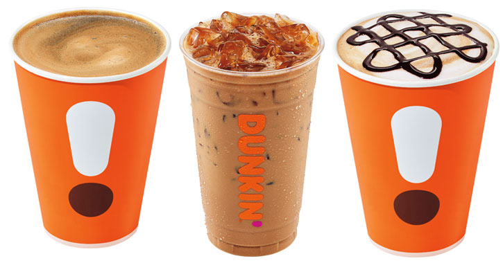 three Dunkin espresso images in a row