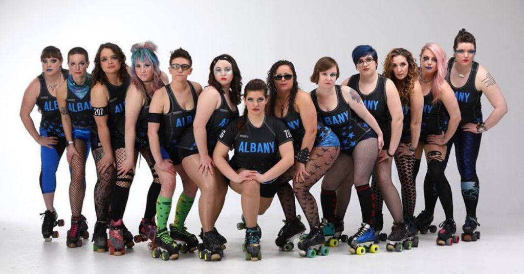 group of roller derby team