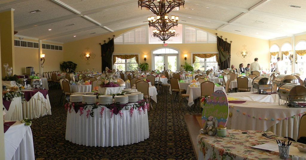 dining room decorated for easter