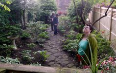 people in a hidden garden