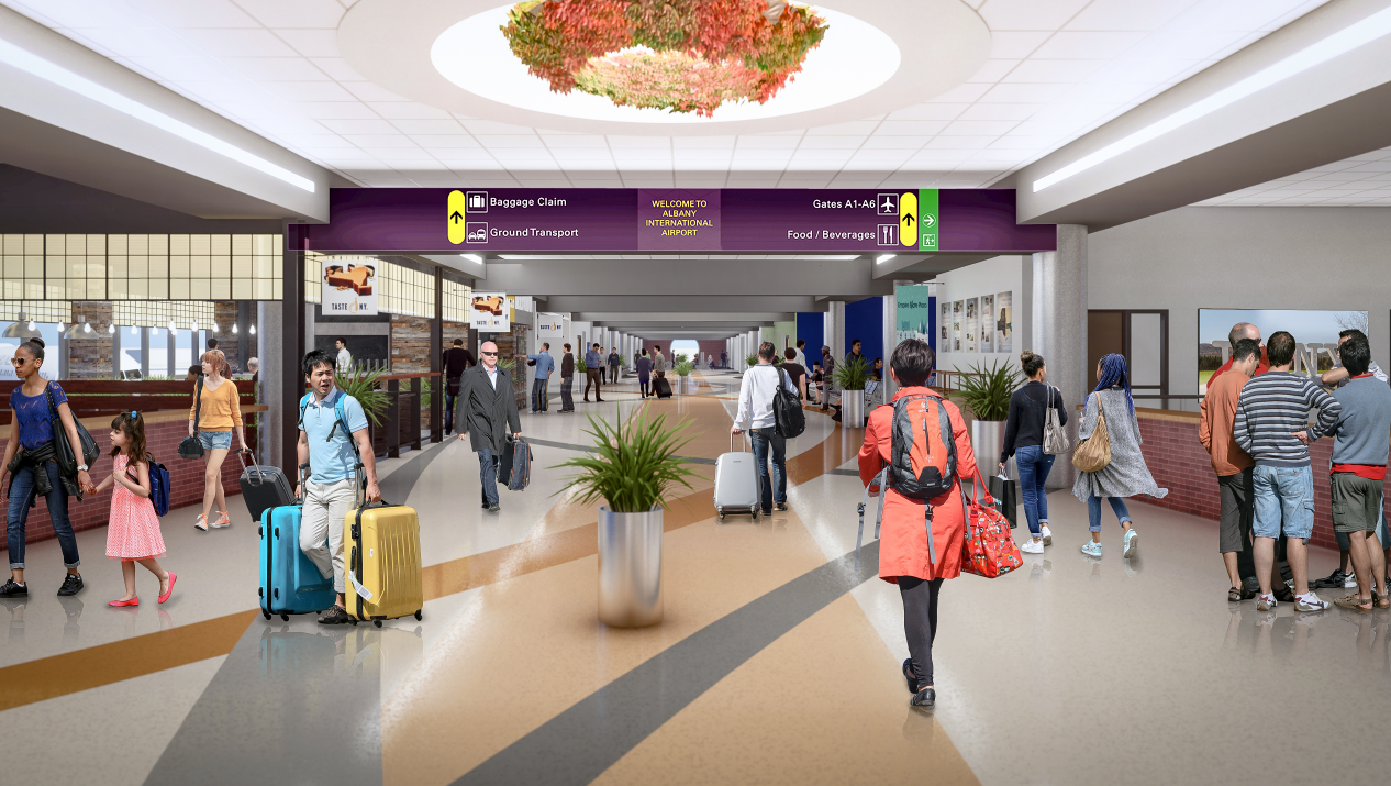 computer generated image of people walking in inside the airport