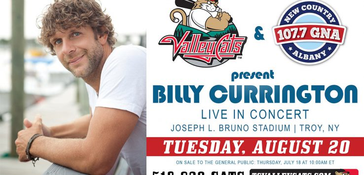 poster promoting billy currington at joseph l. bruno stadium