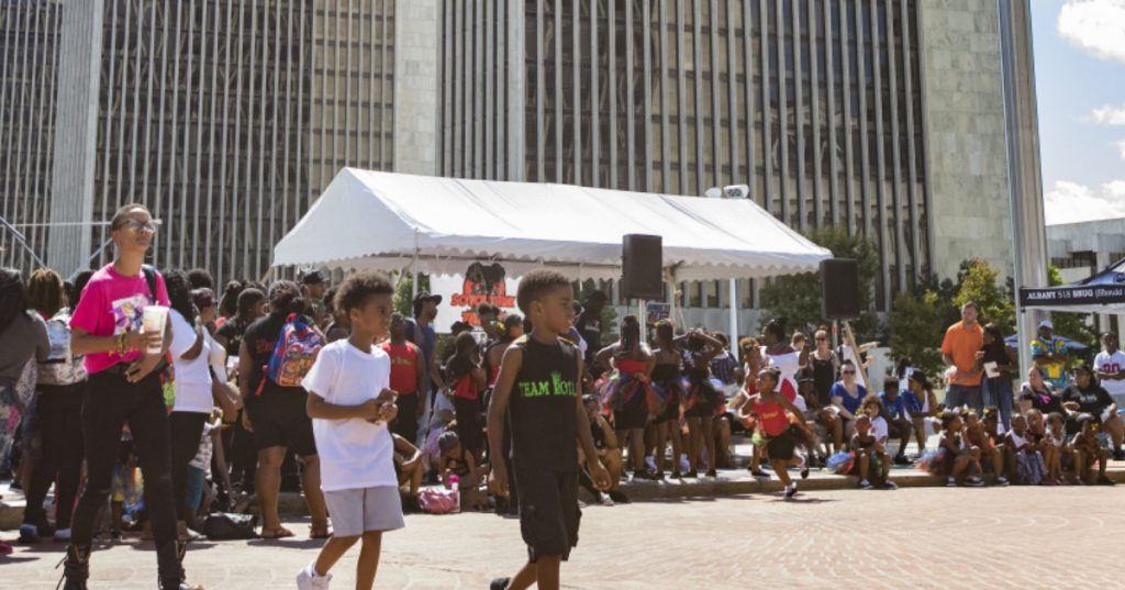 large group of people at festival at empire state plaza