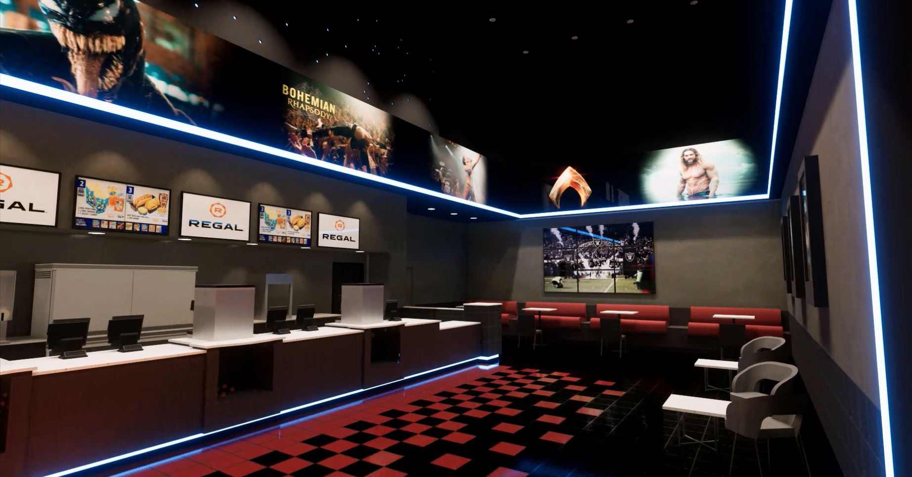 updated concession area at a regal cinemas