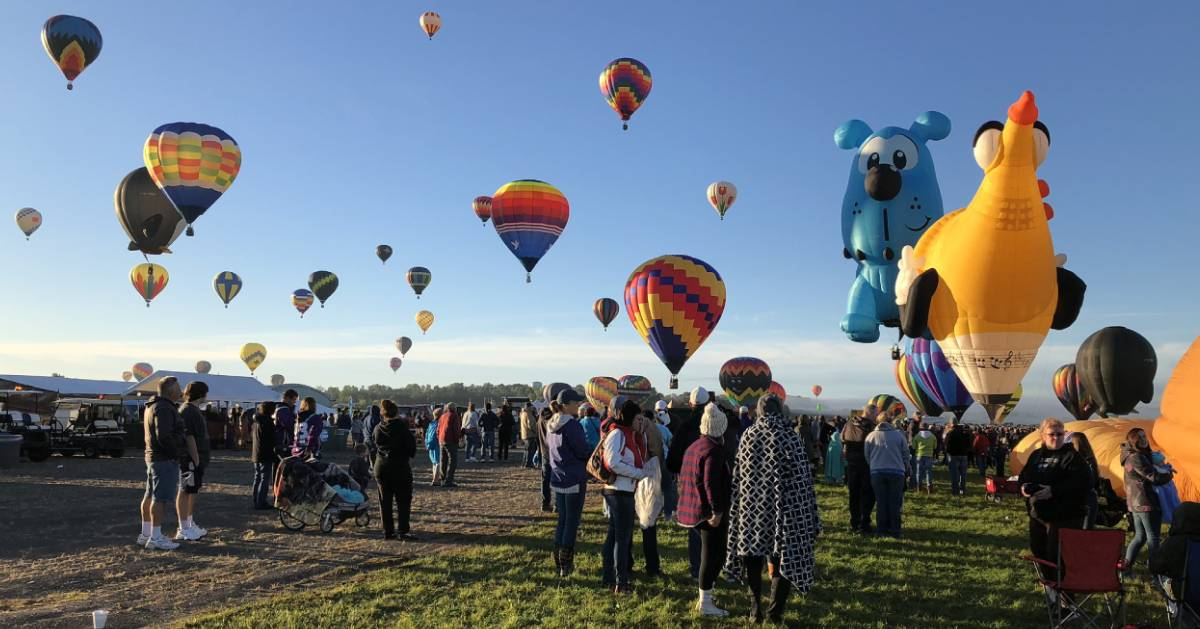 scene of crowd and balloons at balloon festival