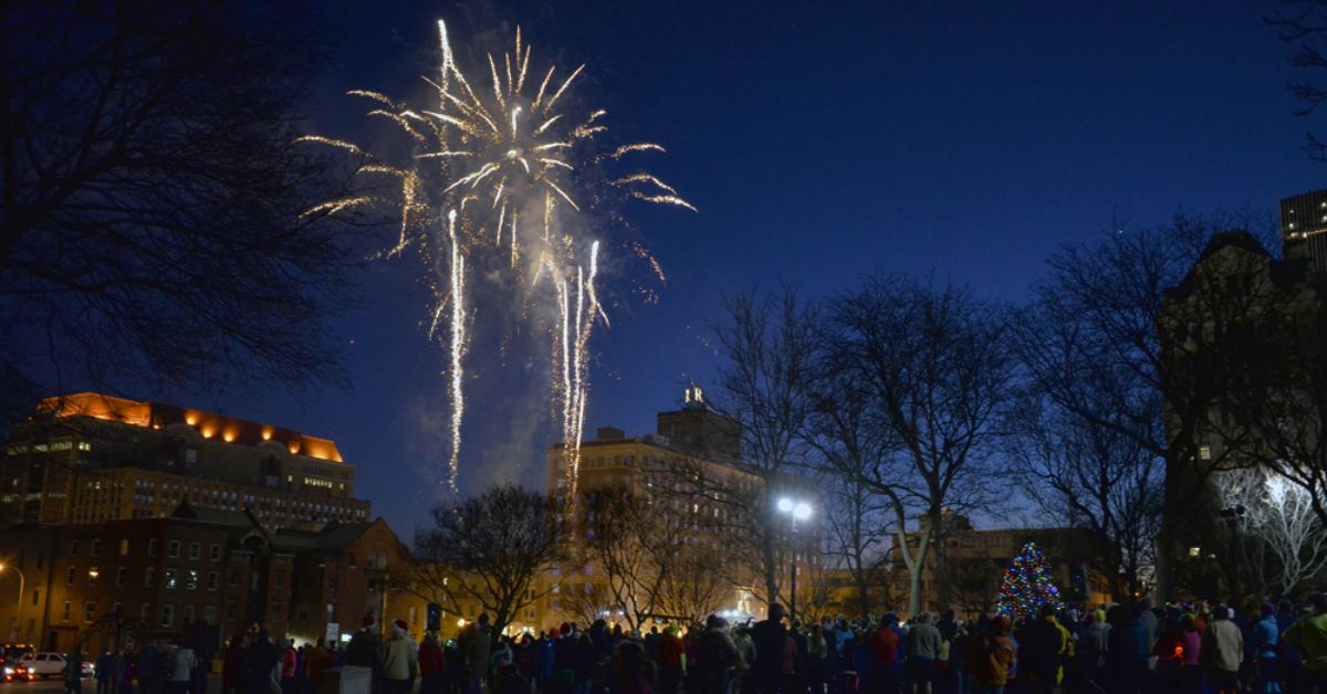 fireworks over Albany during the Last Run 5K