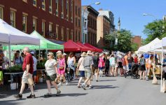 people shopping at the troy waterfront farmers market