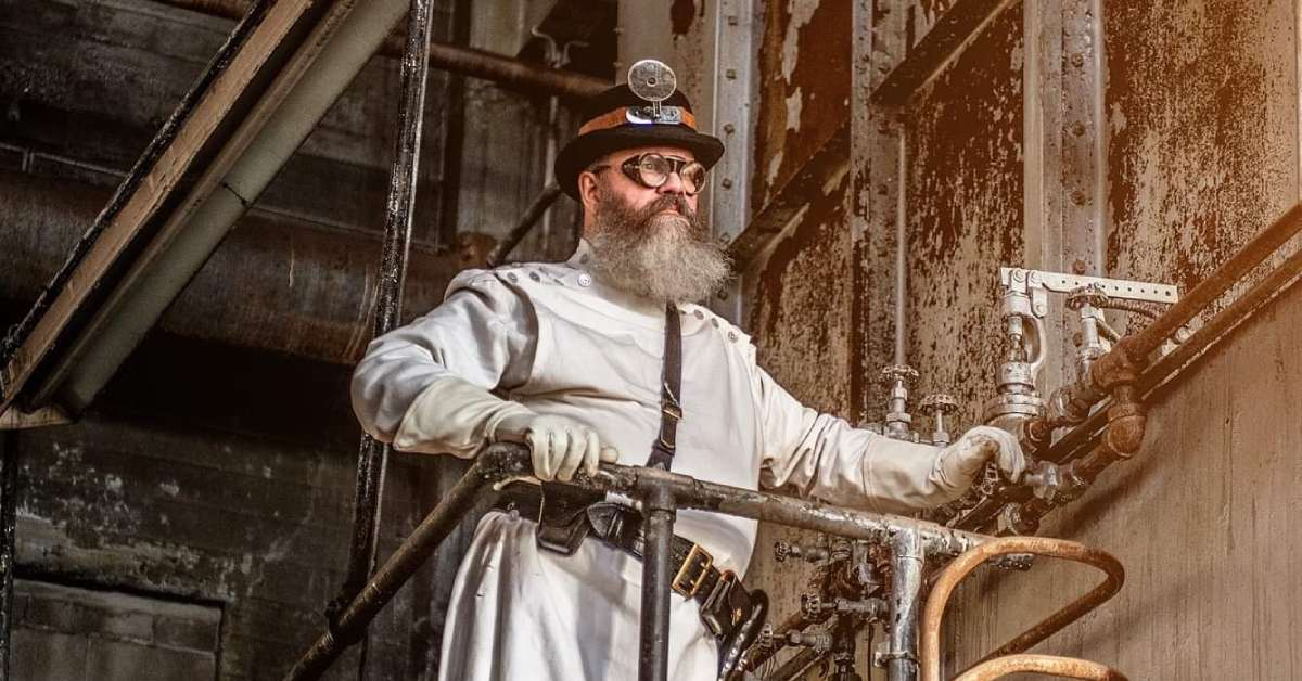 a man in steampunk attire