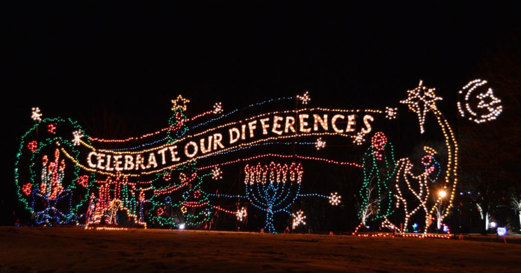 colorful holiday lights scene