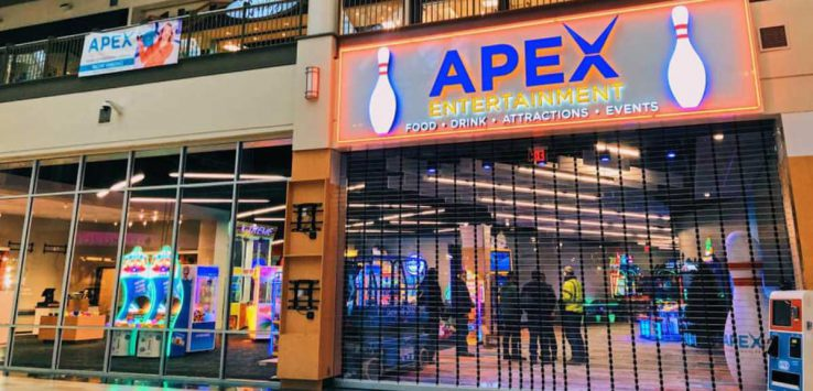 the mall entrance to apex entertainment