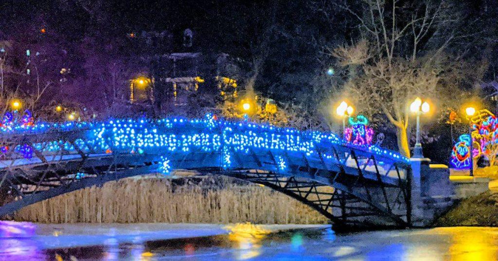 decorated lights on bridge
