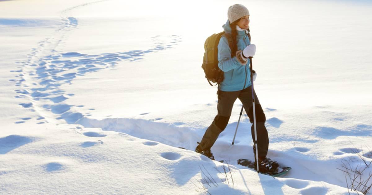 woman snowshoes