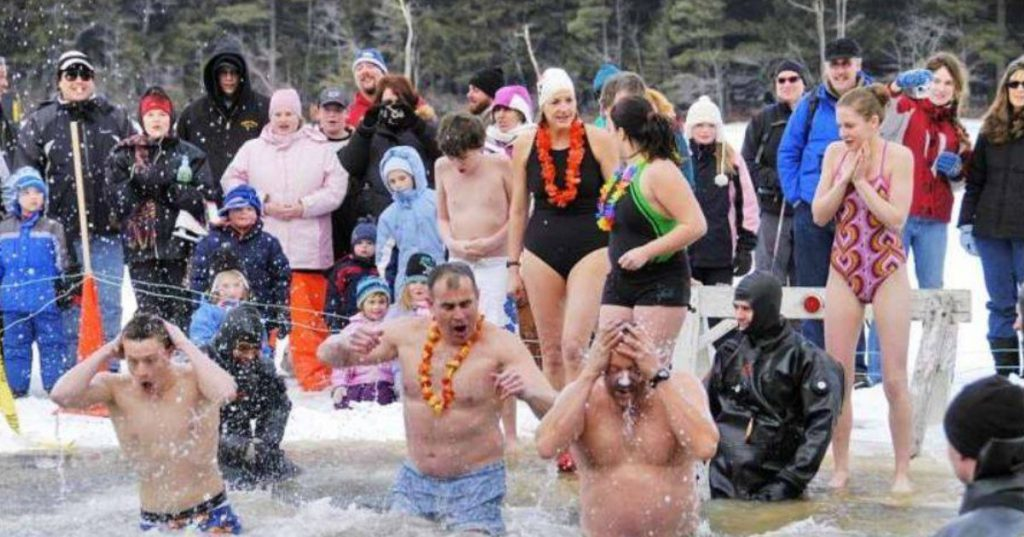 people in a polar plunge