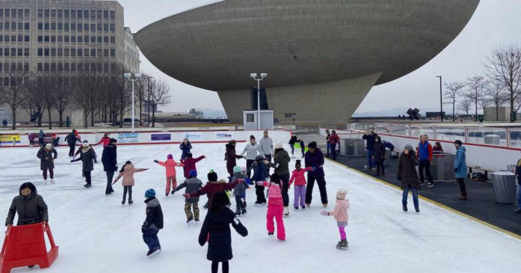 ice skating at empire state plaza in albany